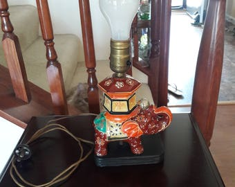 Vintage 1930's - 40's Hand Painted Elephant Lamp / Middle Eastern / India / Arabic / Satsuma