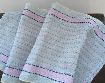 Scandinavian woven runner Blue pink patterned runner Swedish woven runner Shabby table runner