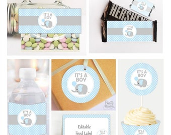 Elephant Party Table Set, Printable It's a Boy Baby Shower set, Toppers, Water Bottle Labels, Candy Wrappers, Instant Download -D048 BBEB1