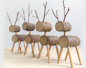 5 Little wood Deers - Rustic Deers, Wooden Reindeer - Wedding Table Centerpiece, Party Banquets Table Decors