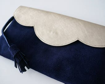 """Leather clutch bag """"Mila"""" two-tone gold and blue with or without chain"""