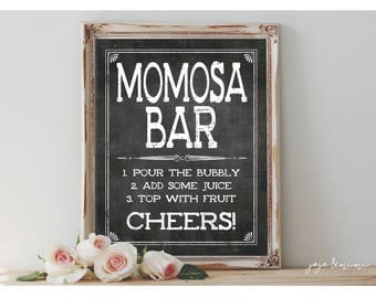Instant 'MOMOSA BAR' Printable Sign Chalkboard Printable Party Decor Mimosa Table Baby Shower Size Options