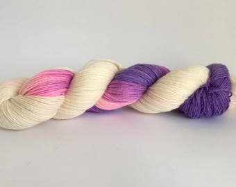 Hand dyed merino / cotton sock yarn ~ Grape Soda ~ summer socks, shawl, knitting, crochet