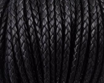 Leather Braided Cord, 5MM Black Bolo Leather, Excellent European Quality, All Leather- No Filler, One Yard LCBR5