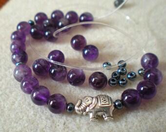 YOGA BRACELET KIT * purple amethyst beads * 6 mm