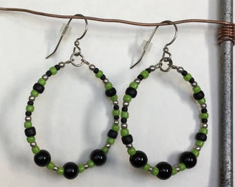 Gypsy. Leaf Green and Obsidian with Sterling Silver Beads