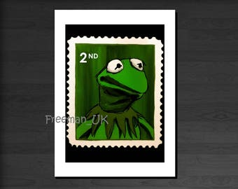 The Muppet's Kermit the Frog 2nd class stamp.  Greetings card