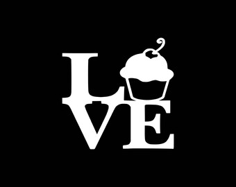 Love Cupcake Decal,Cupcake Love Decal,Love to Bake,Baking,Baker Decal,Cupcake Shop,Cupcake Decals,Cupcake Car Decal Yeti Tumbler Cooler Car