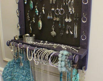 ON SALE Beautiful Amethyst Stained Wall Mounted Jewelry Organizer with Bracelet Bar and Dark Bronze Mesh, Wall Organizer