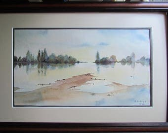 Real watercolor, Loire imagination, comes framed without glass