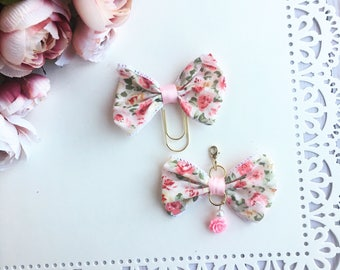 Pastel Floral Planner Bow Charm and TN Bow Charm Bow Paperclip