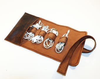 Leather Cord Wrap with Pocket, Leather Cable Organizer, Cord Roll, Cord Organizer, Handmade Roll Up Case.