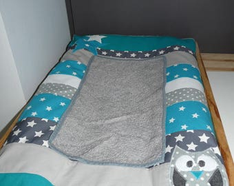 Mattress cover diaper owls and stars (blue / grey)
