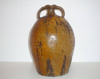 Antique french Oil Jar in glazed terra cotta.  Large Earthenware Jug , Primitive rustic bottle 1800s beginning 1900s