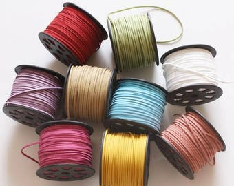 12 Color-Deerskin Lace hand woven rope leather deerskin, by 10m -STGC-3mm wide