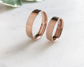 6mm/5mm Rose Gold Plated Stainless Steel Rings, Couples Ring Set, Couples Names Rings, Matching Couple Ring, His and Her Ring Set, Date Ring