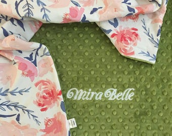 Blush Floral Baby Blanket   Personalized Baby Blanket   Name Baby Blanket   Rose Baby Blanket   Floral Blanket