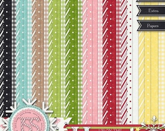 On Sale 50% Christmas,Holiday,Santa,Up On The Housetop Patterned Papers, Digital Scrapbooking, Scrapbook, Instant Download