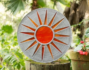 "Bright Orange Sun Stepping Stone 18"" Diameter Made of Concrete and Stained Glass Perfect for Your Garden Patio or Back Yard Pool Pond #720"