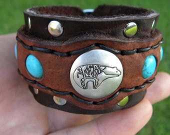 Native Indian Navajo sterling silver Bear  bracelet ketoh Buffalo Bison leather handcrafted adjustable one of kind tribal turquoise
