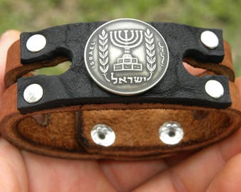 Jewish Bracelet wristband Israel  1/2 lira Menorah  VINTAGE Agorot coin  Holly land Jerusalem    Buffalo leather nice gift for Hanukkah