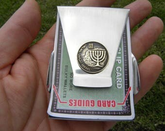Authentic vintage Israel coin Menorah coin Holly Land  Men Money clip Double side Stainless steel nice gift