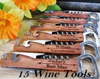 15 Piece Groomsmen Gift Set, Wedding Party Favor, Cheap Groomsmen Gift, Best Man Gift Idea, Father of the Groom Gift, WIne Bottle Openers