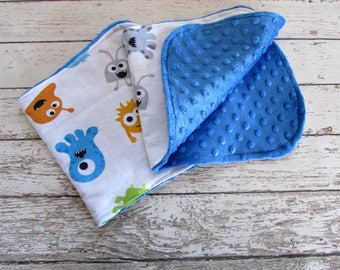 Modern Gender Neutral Burp Cloths - Burp Rags - Drool Rags, Monsters Burp Cloths Set of 2 Ready To Ship