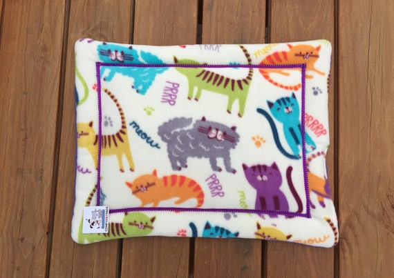 Colorful Cat Bed, Playful Kittens, Cat Lover Gift, Small Crate Pad, Unique Cat Bed, Washable Bedding, Chair Cover, Kitten Bed, Fleece Bed