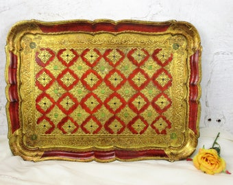 Italian Mid Century Hollywood Regency Florentine Serving Tray Gold Red Wood