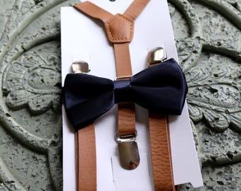 Kids Boys brown PU Leather Suspenders,navy blue,bow tie 6mon-5Y,children