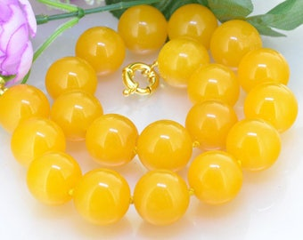 16mm 30 inch Large Yellow Jade Necklace , Large Round Beads Knotted Necklace , Wedding Yellow Jade Necklace
