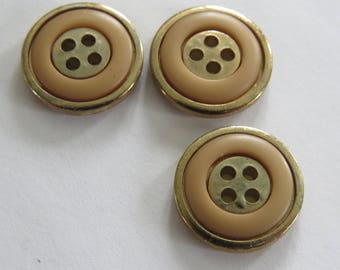 Vintage Orange and golden metal button