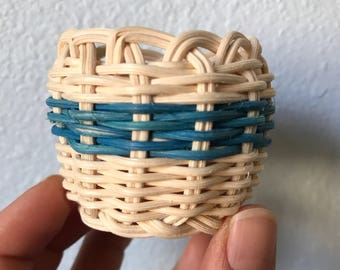 "Hand woven basket ""Fish Bones"" miniature basket"