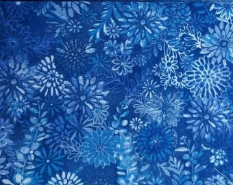100 percent cotton batik fabric/royal blue/quilting/apparel/crafts/by the yard