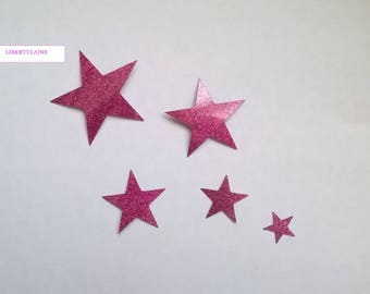 Applied pink set of 5 stars in flex fusible glitter