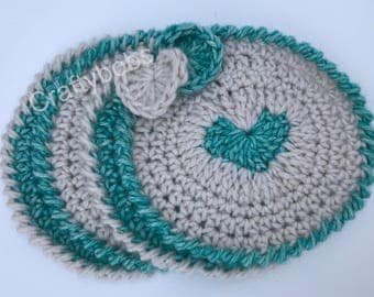 Crochet Drinks Coasters 100% Cotton Set of Four