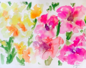 "Original 12"" x 16"", original watercolor painting, pink, yellow, gladiola watercolor, floral painting, wall art"