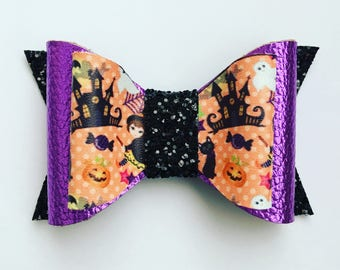 Halloween Haunted House Glitter and Faux Leather Bow and Headband
