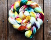 MIRABELLE color, spinning fiber, roving, handpainted, hand dyed, top, merino, superwash merino, hand dyed roving