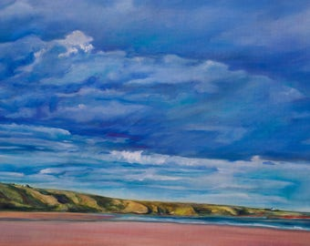 Oil Painting St Cyrus Beach Original Artwork Scottish Landscape Home Decor Wall Decor Wall Hanging Art 40x80cm