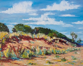 Oil Painting Sparrow Hill Palette Knife Original Artwork