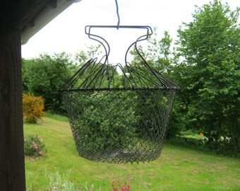 French Egg Basket, Wire Hanging Basket, French Folding Wire Basket, French Wire Salad Basket
