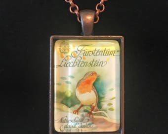 Robin Postage Stamp Necklace | Bird necklace | Vintage postage stamp