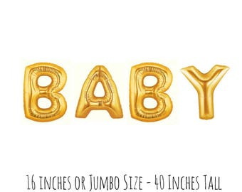 BABY Jumbo Gold Letter Balloons, Big 40 Inch Metallic Gold Foil Mylar Balloons, Baby Shower Decor, Gender Reveal Party Decorations, Balloons