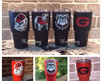 30 oz Yeti Rambler Tumbler - Georgia Bulldog / UGA / Dawgs (Red, White or Matte Black cup)