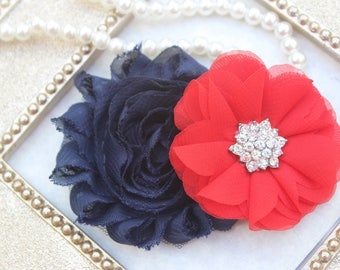 Red and navy blue hair clips, girls navy and red hairbows, kids hair clips, navy blue and red hair clips, toddler hair bows, adult hair clip