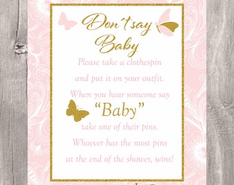 Don't Say Baby Game, Printable Butterflies Pink and Gold Baby Shower Clothespin Game, Instant Download, Butterflies Girl Baby Shower Game