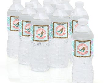Let's Be Mermaids - Water Bottle Labels - Personalized Under The Sea Waterproof Self Stick Labels - Baby Shower & Birthday Favors - 10 Ct.
