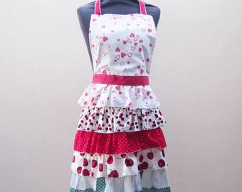 Ruffled apron - Ruffle apron - Full length apron - Hostess apron - Kitchen apron - Full coverage apron  cherry apron - Galentines Day gift